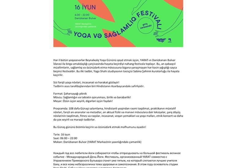 Bakıda yoqa və sağlamlıq festivalı keçirilib