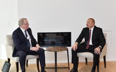 """Azrəbaycan Prezidenti Davosda """"Equinor"""" şirkətinin baş icraçı direktoru ilə görüşüb"""