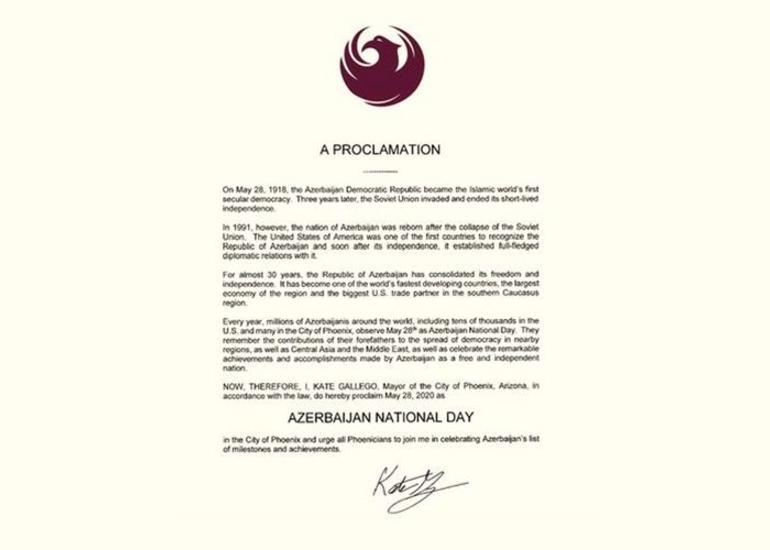 """ABŞ-ın Arizona ştatının paytaxtında 28 may """"Azərbaycan Milli Günü"""" elan edilib"""