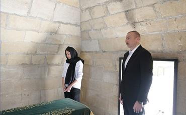 Prezident İlham Əliyev və birinci xanım Mehriban Əliyeva Şamaxıda Pirsaat Baba ziyarətgahında olublar