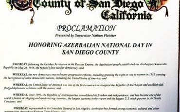 """ABŞ-ın Las Veqas, Honolulu, San Dieqo və Monterey şəhərlərində """"Azərbaycan Milli Günü"""" elan olunub"""