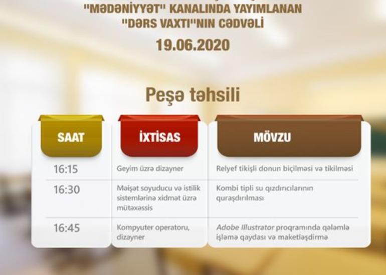 """""""Dərs vaxtı""""nın peşə təhsili ilə bağlı sabaha olan cədvəli açıqlanıb"""