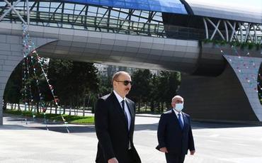 Prezident İlham Əliyev Bakıda yerüstü piyada keçidinin açılışında iştirak edib