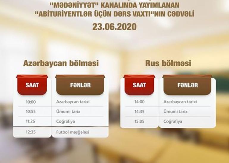 """""""Abituriyentlər üçün dərs vaxtı""""nın sabaha olan cədvəli"""