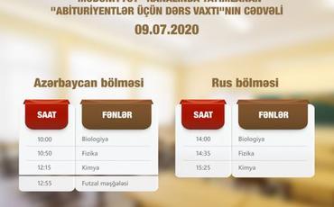 """""""Abituriyentlər üçün dərs vaxtı""""nın sabaha olan cədvəli açıqlanıb"""