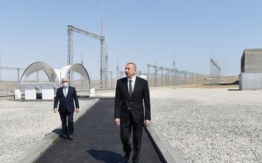 """Prezident İlham Əliyev """"Qobu"""" elektrik yarımstansiyasının tikintisi ilə tanış olub"""