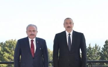 Prezident İlham Əliyev Türkiyə Böyük Millət Məclisinin Sədrini qəbul edib