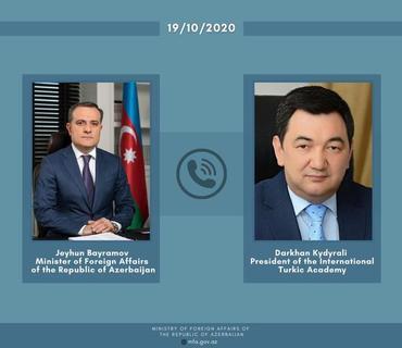 Ceyhun Bayramov və Beynəlxalq Türk Akademiyasının prezidenti arasında telefon danışığı olub