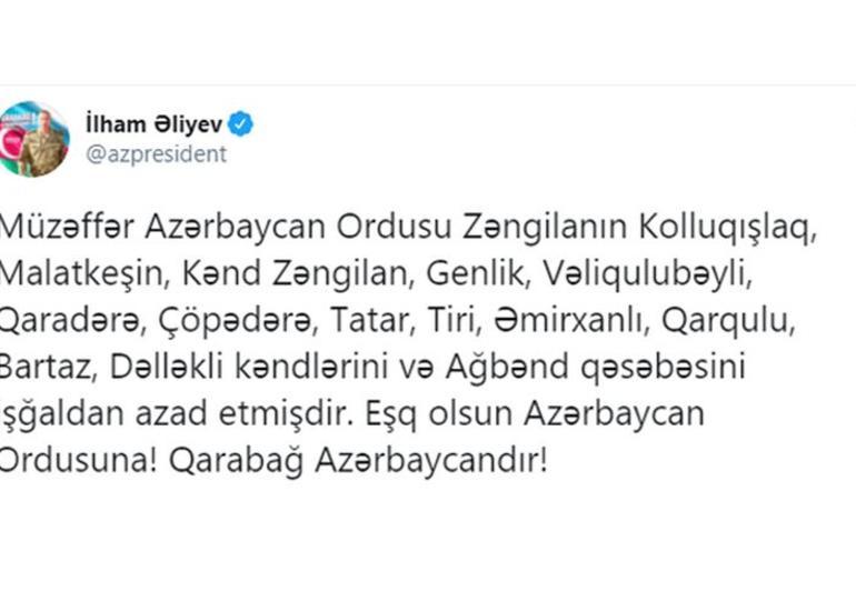 Zəngilanın daha 13 kəndi və bir qəsəbəsi işğaldan azad olunub